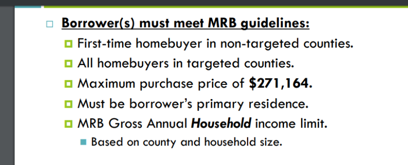 KHC Household Income Limits for MRB Tax Credit MCC