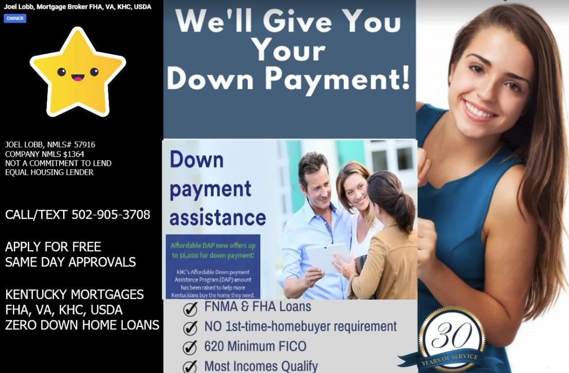 $6000 DOWN PAYMENT ASSISTANCE FROM KENTUCKY HOUSING